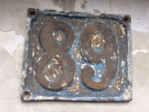 Vintage 1900's Cast Iron Sign House Number 89