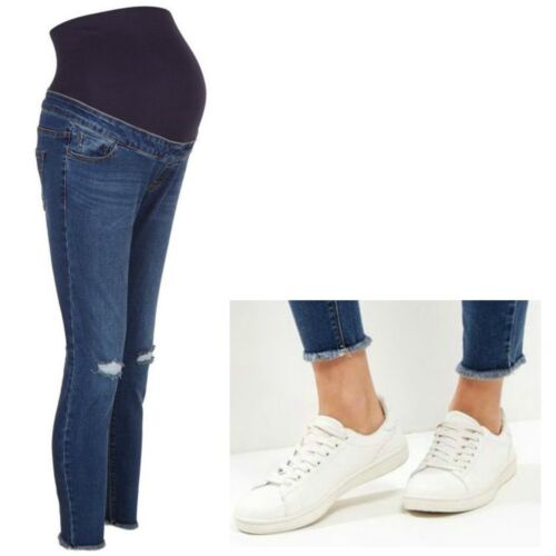 Maternity New Look Over Bump Skinny Ripped Jeans Blue Sizes 10 12 14 16