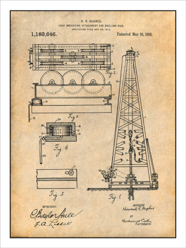 1916 Howard Hughes Oil Drilling Rig Attachment Patent Print Drawing Poster 18X24