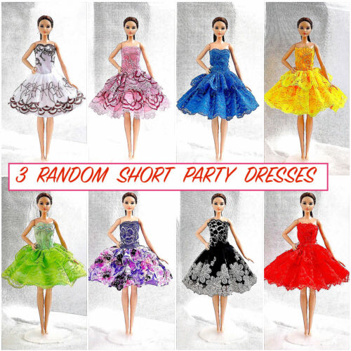 new barbie doll clothes clothing 3 random dresses party summer dress