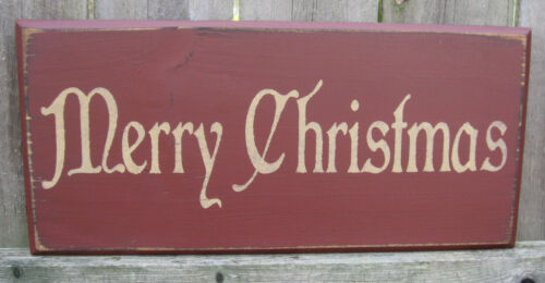 """PRIMITIVE  COUNTRY  MERRY CHRISTMAS 12""""  SIGN"""