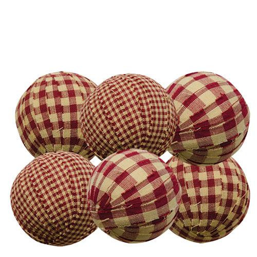 Primitive Country Lot of 6 - Rag Balls 2.25 in Bowl Filler Burgundy GinghamNIP