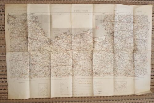 WWII - 1942 - ANTIQUE COLORED - Europe Road Map (ST. BRIEUC-RENNES) (BRITISH/US)