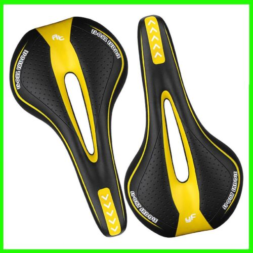 SELLA SELLINO BICI CORSA MOUNTAIN BIKE CON FORO ANTI PROSTATA COLORE GIALLO