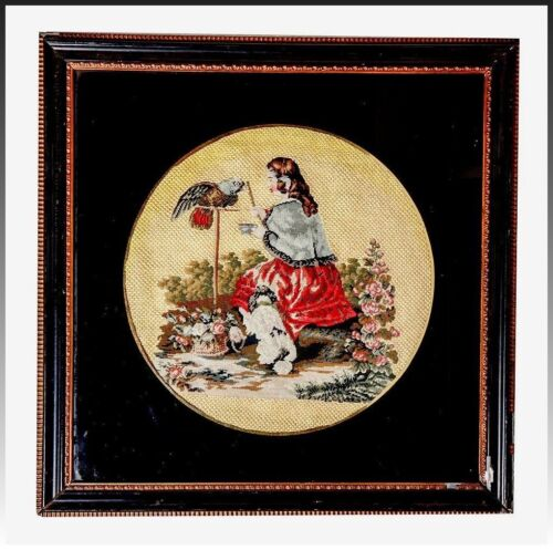 Antique English Victorian Needlepoint: Queen Victoria & Pets, Petitpoint, Framed