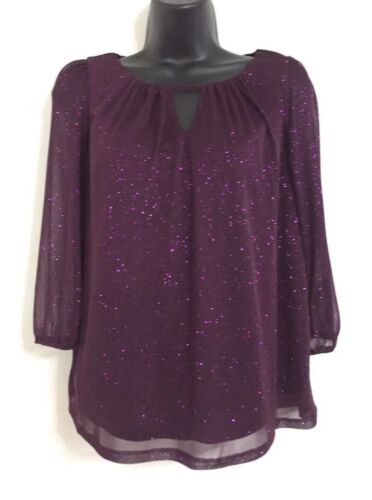 NEW Ex DP: Purple Sparkly Glitter Party Occasion Shimmer Blouse Top Size 10-18