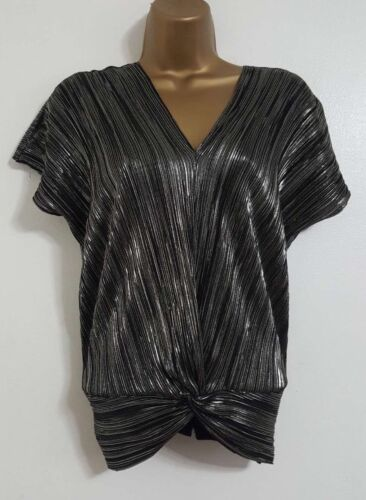 NEW ex Warehouse Pewter Metallic Sparky Plisse Party Evening Blouse Size 6-16