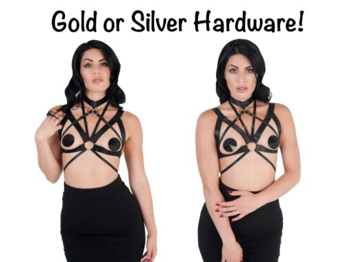 Womens Body Harness Bra Cage Strappy Quality Bralette Gold Silver Adjustable