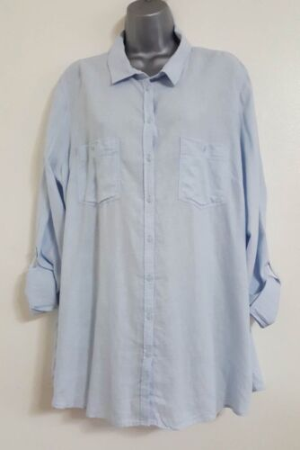 NEW EX George Plus Size Blue Linen Button Up Oxford Boyfriend Shirt Size 12-24