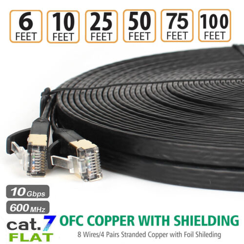 Cat7 Ethernet Cable High Speed Flat Internet Cord with Clips & RJ45 Connector