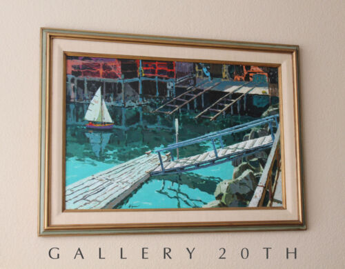 WOW! WEGNER MID CENTURY MODERN HARBOR SEASCAPE OIL PAINTING! EXPRESSIONIST EAMES