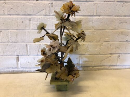 Vintage Asian Chinese Jade Mineral Multicolored Bonsai Tree with Base
