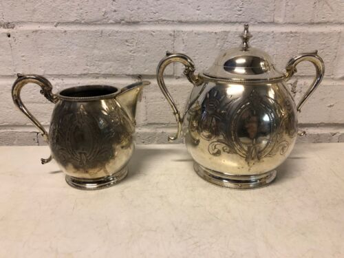 """Vintage Sheffield Silver plate""""Lilly of Valley"""" Sugar Bowl and Creamer"""