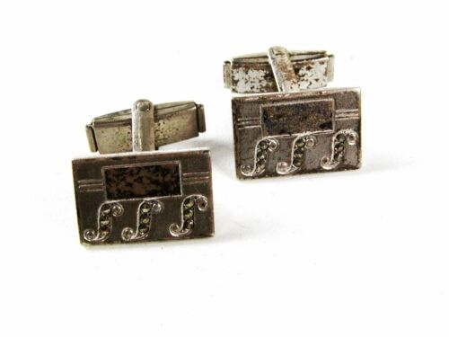 Sterling Silver Marcasites Monogramable Cufflinks Unbranded 3616