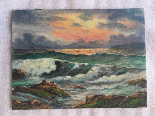 LISTED ARTISTED L. PIERRE  BOTTEMER OIL ON BOARD SEASCAPE