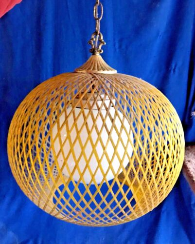 "VINTAGE MID CENTURY MODERN WOVEN FIBERGLASS W/GLOBE YELLOW SWAG LAMP 16"" WIDE"