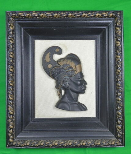 Vintage African Africa Egyptian Egypt Woman Wall Plaque Framed