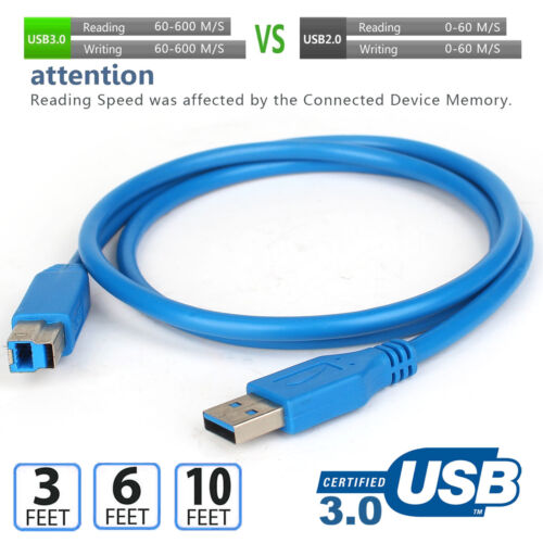 High Speed Printer Data Cable Scanner Cord USB 2.0/3.0 Type A Male to B Male lot