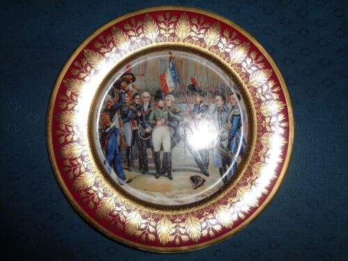 Antique French Sevres porcelain cabinet plate of Napoleon  {artist signed }