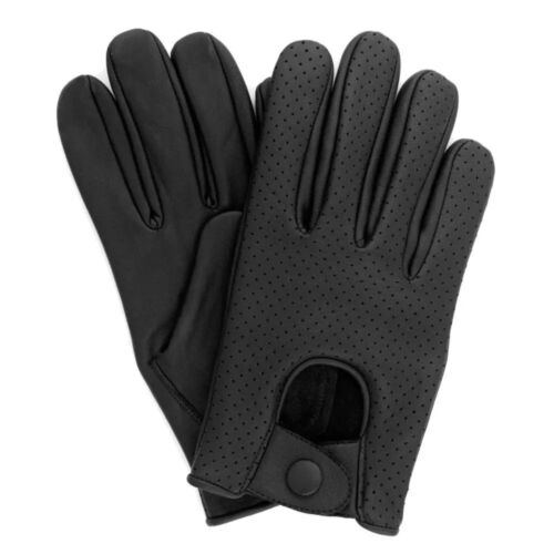 MEN'S CHAUFFEUR  REAL LAMB SHEEP NAPPA LEATHER DRIVING GLOVES -  VENTED BLACK