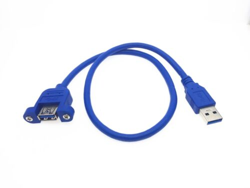 2x USB 3.0 Male To Female Extension Cable With Screw Panel Mount Holes  Blue