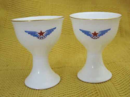 1 One Vintage Airline Egg Cup Blue Wings w Red Stars Bone China SHP