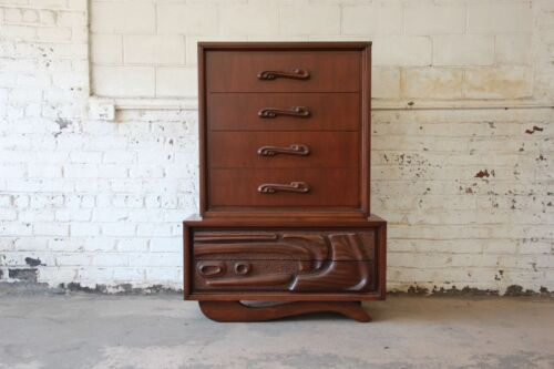 Mid-Century Sculptural Highboy Dresser in the Style of Philip Lloyd Powell