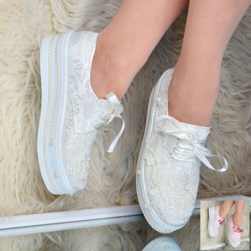 Ladies Bridal Flat Platform Shoes Wedding LACE PEARLS Satin Trainers Embellished