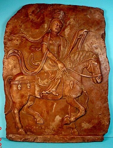 VINTAGE CHINESE REPUBLIC PERIOD STONEWARE POTTERY 'GUANYIN ON HORSEBACK' PLAQUE