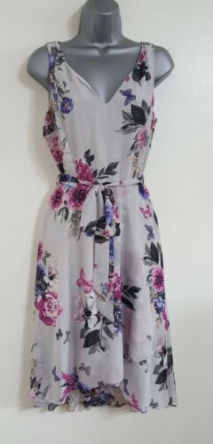 NEW EX DP Billie & Blossom Grey Floral Midi Skater Chiffon Dress Size 8-22