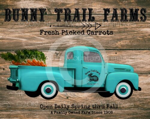 Primitive Spring Bunny Trail Farms Easter Vintage Truck Picture Print 8x10