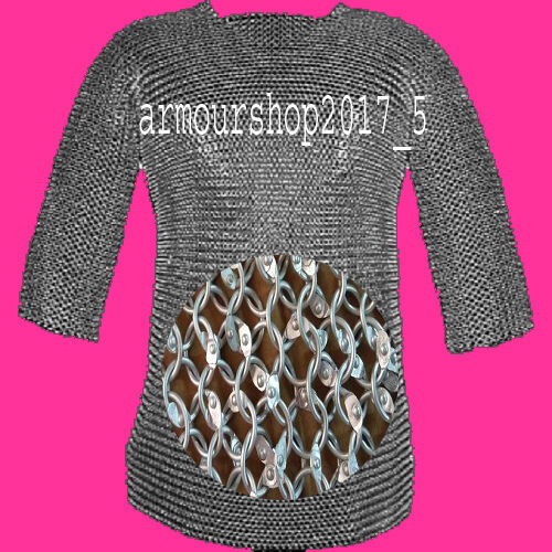 Chain mail 9 mm round riveted hubergion half sleeve Shirt Extra Large size shirtReenactment & Reproductions - 156374
