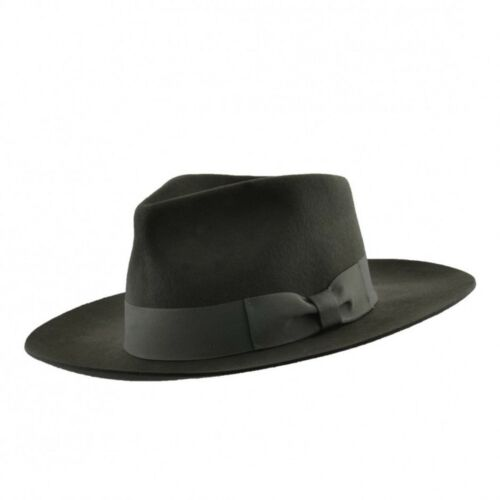 Olive Stiff and Snap Brim 100% Wool Felt Fedora Trilby Hat With Wide Band