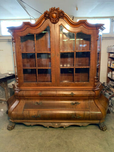 Antique Late 19th / Early 20th Century Likely European Large Bombe China Cabinet