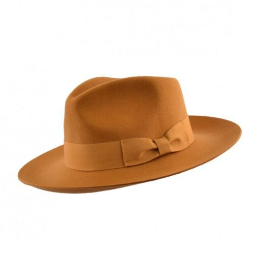 Gold Stiff and Snap Brim 100% Wool Felt Fedora Trilby Hat With Wide Band