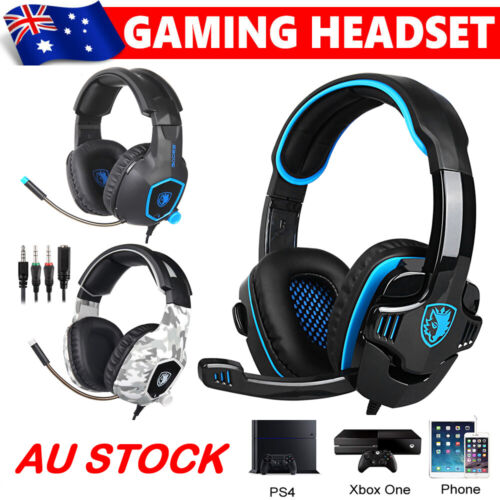 Sades 3.5mm Gaming Headset Headphones Surround Mic for PC Laptop PS4 Xbox One