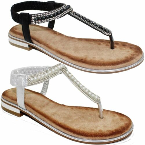 89c994e7dcd0 JLC120 Iowa Toe Post Faux Leather Diamante Low Heel Sling Back Padded  Sandals