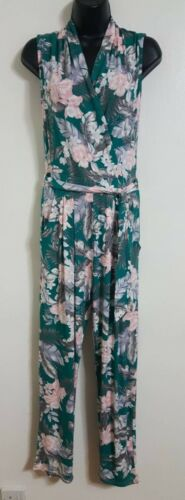 Ex Miss Selfridge Green Multi Floral Palm Printed Wrap Holiday Jumpsuit 6-14