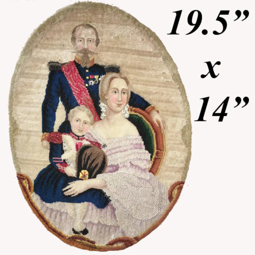 Antique Needlepoint Sampler, Tapestry, French Napoleon III Family, c.1850