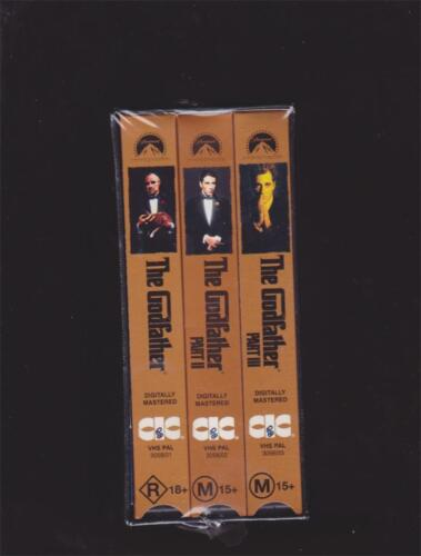 THE GOD FATHER MINT SEALED  COMPLETE SET   VHS X 3 VIDEO PAL~ A RARE FIND
