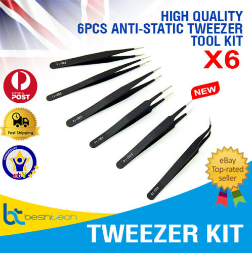 6 Pcs Anti Static Precision Tweezers Stainless Steel watchmaker iPhone Repair