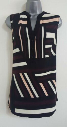 NEW Ex Wallis Black Abstract Stripe Stretchy Sleeveless Vest Blouse Top S-XL