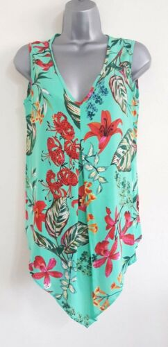 New EX M&Co Green Mix Floral Jungle Print Sleeveless Vest Blouse Top Size 10-20