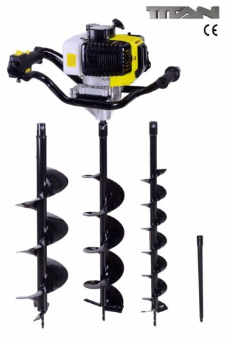 52cc Petrol Earth Auger Ground Drill Fence Post Hole Borer + 3 Bits + Extension <br/> UK Seller!  Fast Delivery!  Unbeatable Prices!