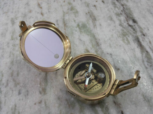 Brass Brunton Compass Vintage Marine Nautical Collectible Decorative