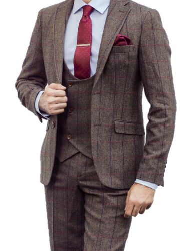 MENS RONAN 3 PIECE BROWN CHECK TWEED BLAZER, WAISTCOAT, TROUSER SOLD SEPARATELY