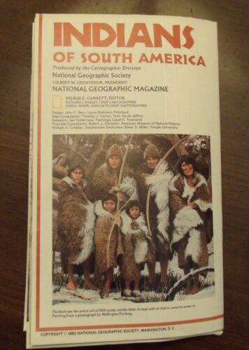 National Geographic MAP Indians Of South America Peoples Info Picture Chart 1982