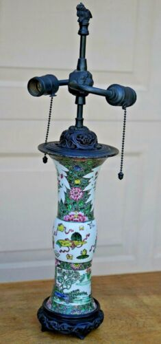 19 th C CHINESE FAMILLE ROSE VASE MOUNTED as LAMP, RARE