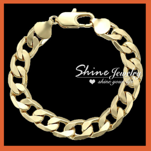 24K GOLD FILLED CUBAN CURB RINGS MENS GIFT CHUNKY 12MM SOLID ITALIAN BRACELET
