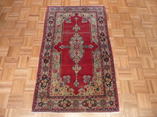 2'10 X 5 Hand Knotted Red Antique Fine Kirman Oriental Rug G1855